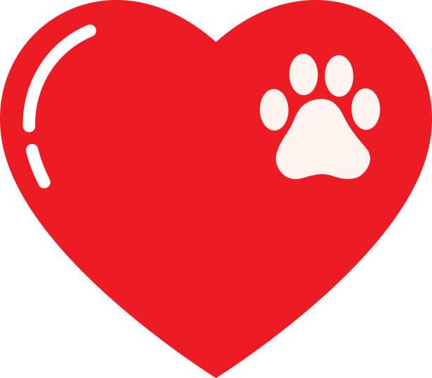 bildbanksillustrationer, clip art samt tecknat material och ikoner med liten tass print hjärta - djursjukhus