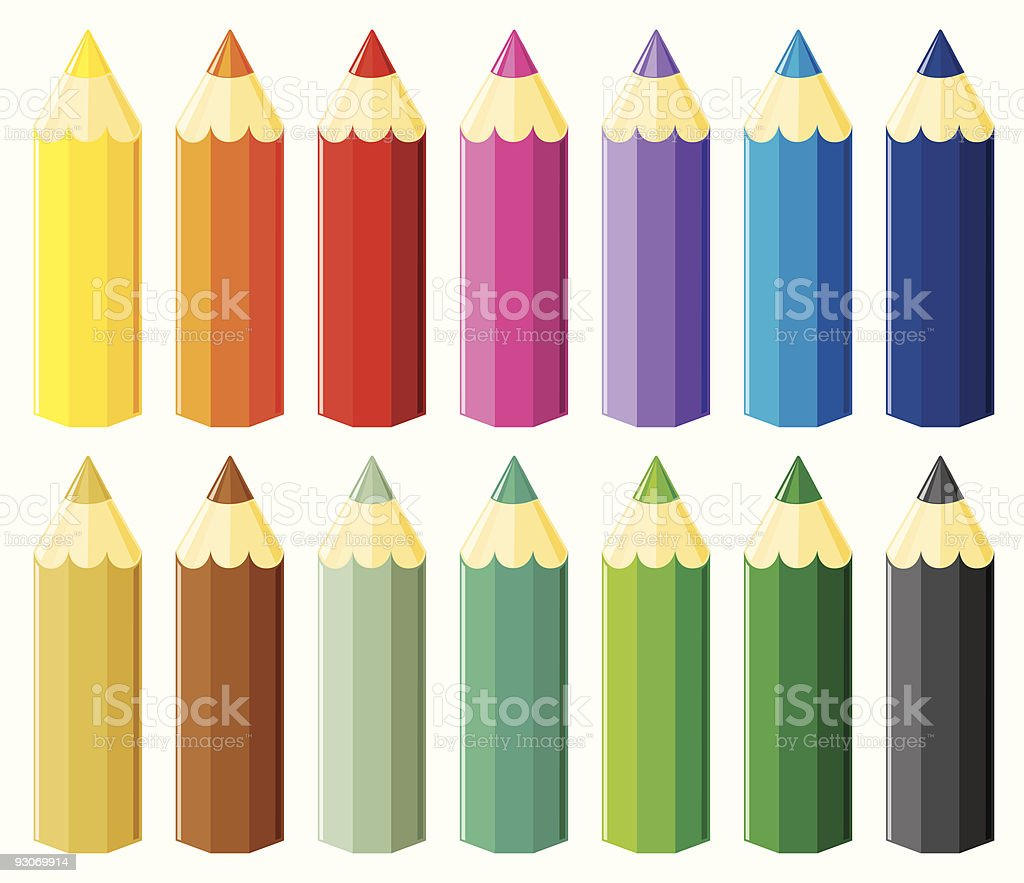 Small pencils set vector art illustration