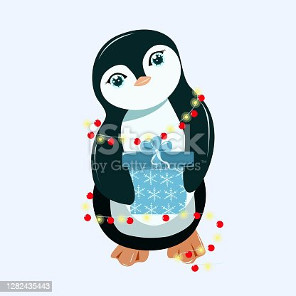 A small penguin holds a gift in its paws