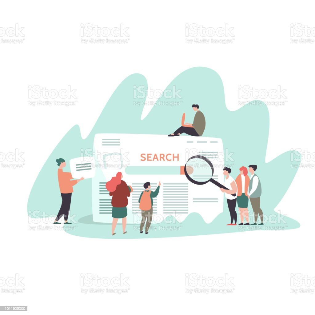 Kleine Menschen und Suche Motor-Ergebnisseite – Vektorgrafik