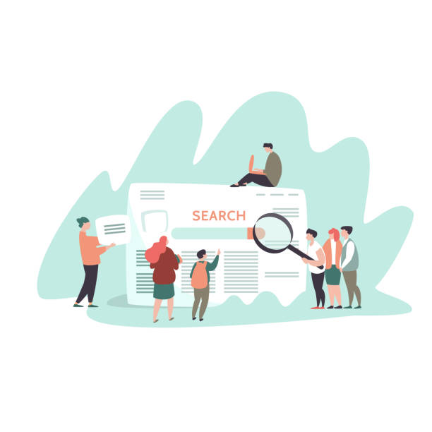 small people and search engine result page - seo stock illustrations, clip art, cartoons, & icons