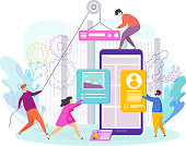 Small people are designing a mobile website. Web design, development. The website is under construction. Interface Design. Trendy flat vector style illustration.