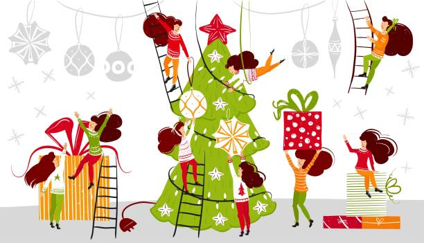 Christmas Decorating Clip Art.Best Christmas Tree Decorating Illustrations Royalty Free
