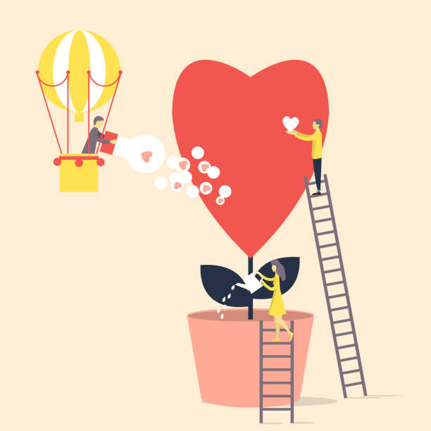 ilustraciones, imágenes clip art, dibujos animados e iconos de stock de las personas pequeñas crecen y se preocupan por el amor, como una flor. - conceptos y temas