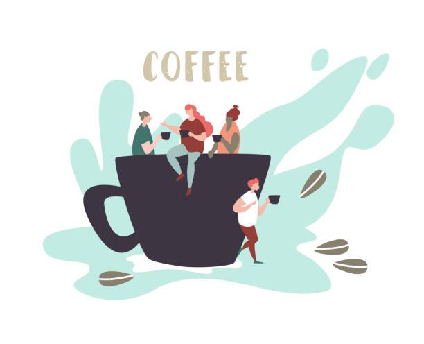 Kleine Leute sitzen auf einer großen Tasse trinken und reden – Vektorgrafik