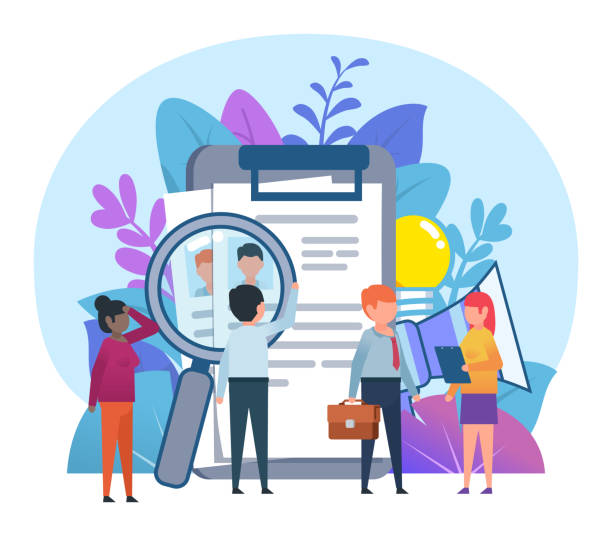 Small people standing near big clipboard with personnel resumes Job recruitment concept. Flat design vector illustration recruiter stock illustrations