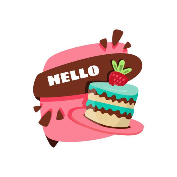 Eine kleine Torte mit einer großen Erdbeere. – Vektorgrafik