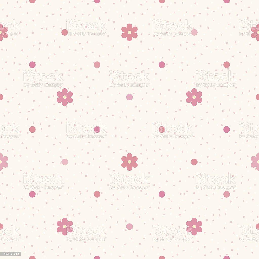 Piccolo Rosa Fiori E Pois Su Sfondo Beige Immagini Vettoriali