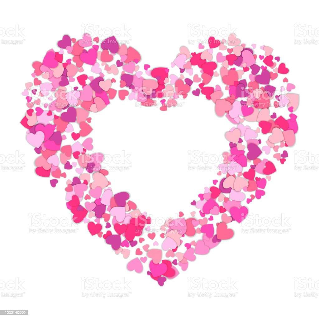 Small Pink Hearts Creates One Big Frame Of Colorful Hearts Heart ...