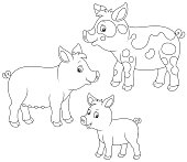 A funny pig family, a black and white vector illustrations in cartoon style for a coloring book