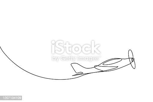 istock Small plane taking off 1207134109