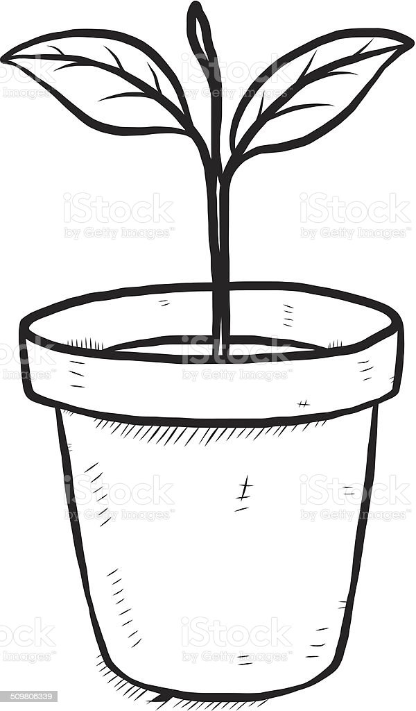 small plant in earthenware stock vector art more images of art rh istockphoto com plant pot clipart black and white tomato plant clipart black and white