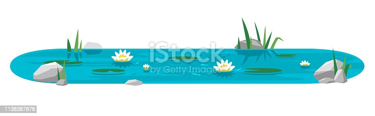 Small blue decorative pond with white water lilies, bulrush plants, stones around and fishes in flat style isolated on white, oval water reservoir for landscape design