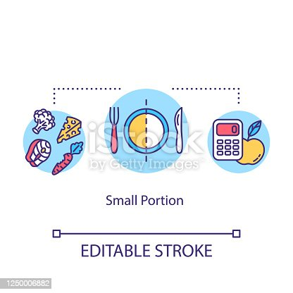 istock Small portion concept icon. Mindful eating, conscious nutrition idea thin line illustration. Limit plate size, ration control. Vector isolated outline RGB color drawing. Editable stroke 1250006882
