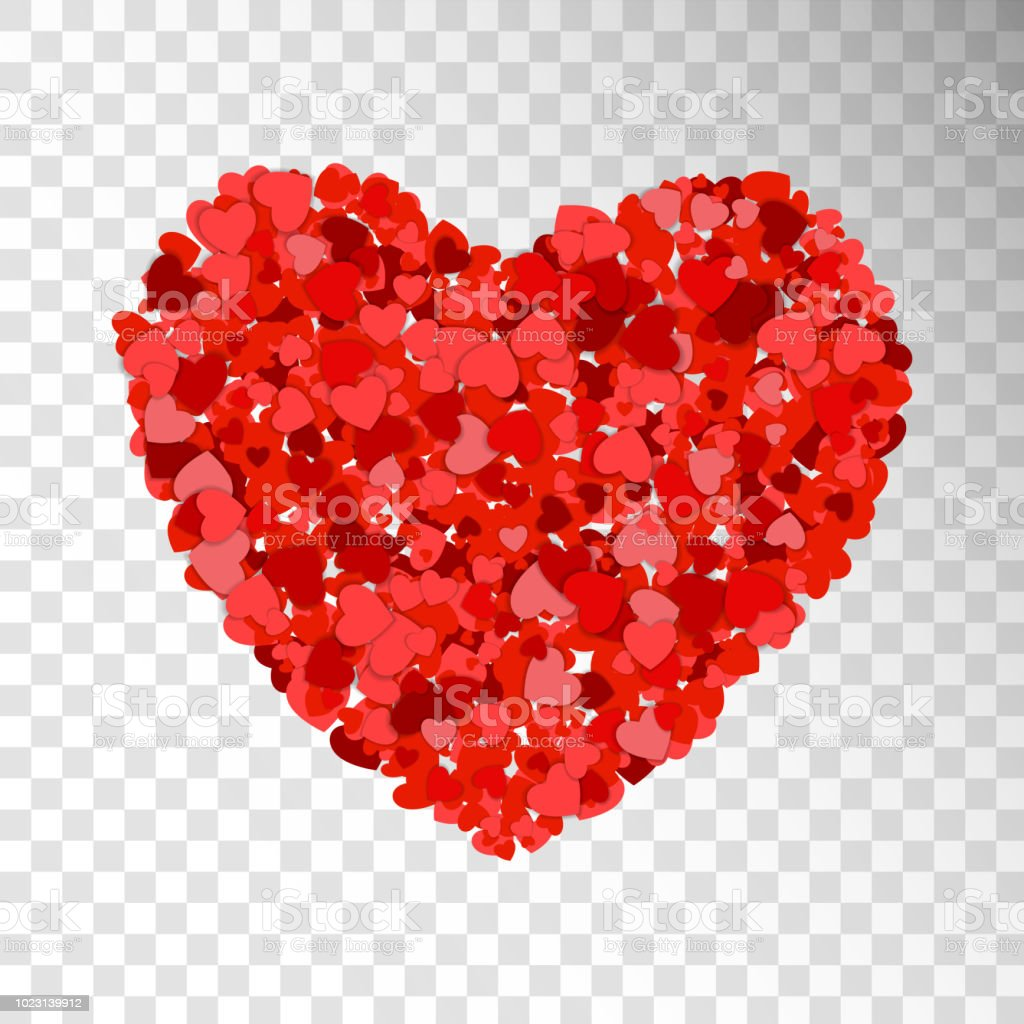Small Red And Pink Hearts Creates One Big Heart On Transparent