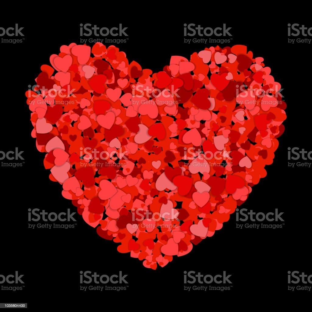 Kucuk Kirmizi Kalpler Bir Buyuk Olusturur Koyu Arka Plan Uzerinde