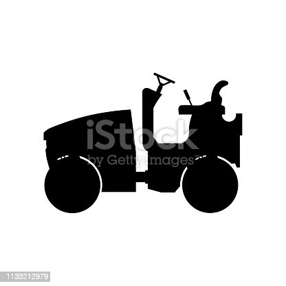 Silhouette of small road roller. Heavy construction machine. Vector illustration isolated on white background