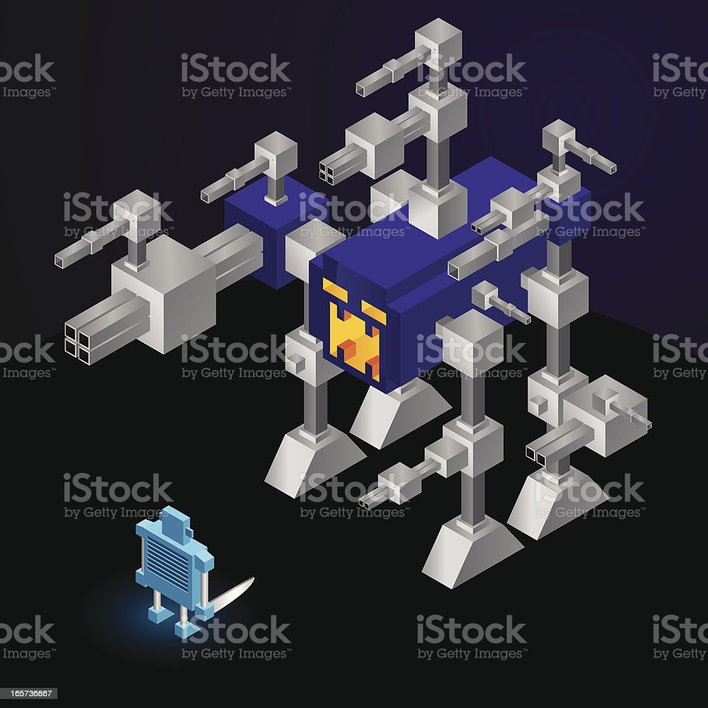 Small robot hero versus technology demon royalty-free small robot hero versus technology demon stock vector art & more images of aerial view