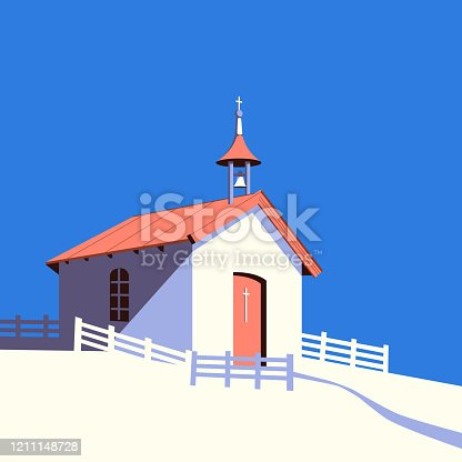 Small rural catholic church flat color vector. Worship village building cartoon icon. Old religion prayer chapel illustration. Christian building design element. Religious event background template