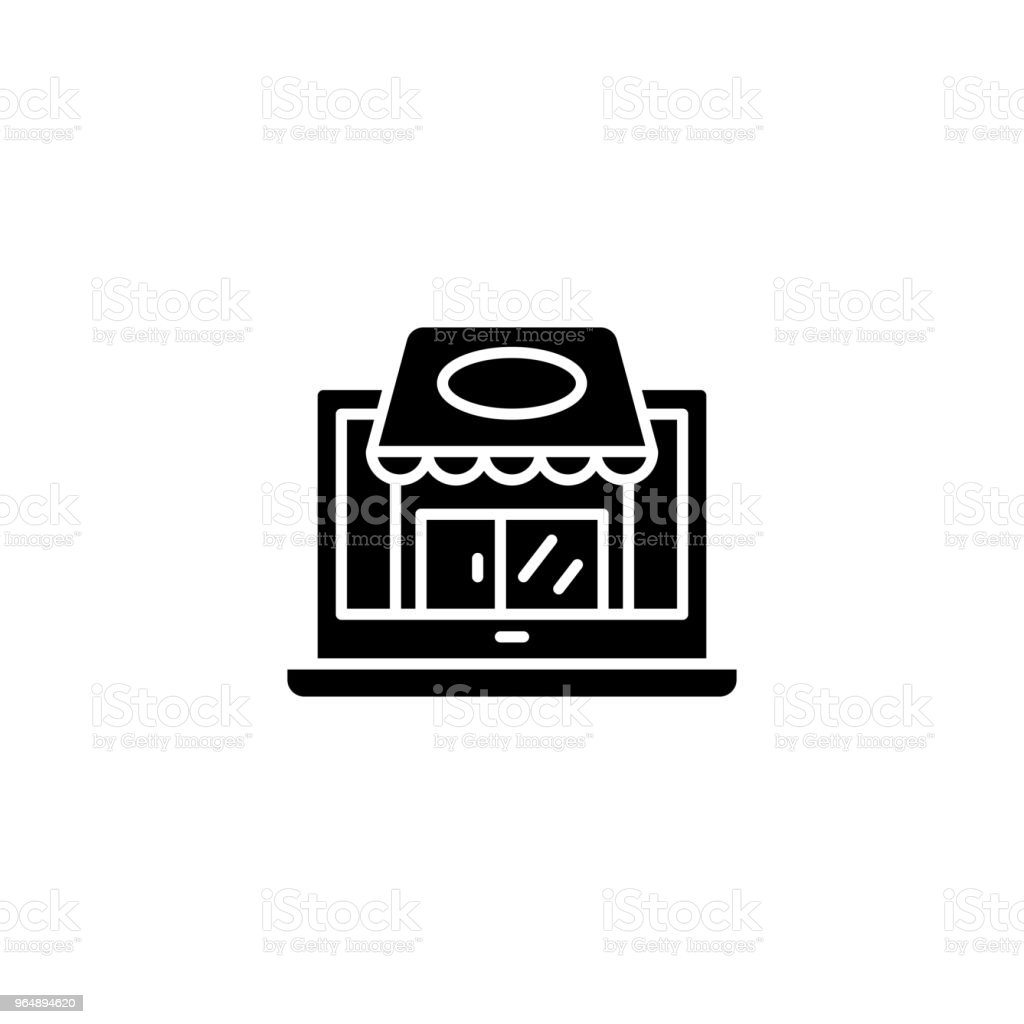 Small shop black icon concept. Small shop flat  vector symbol, sign, illustration. royalty-free small shop black icon concept small shop flat vector symbol sign illustration stock illustration - download image now
