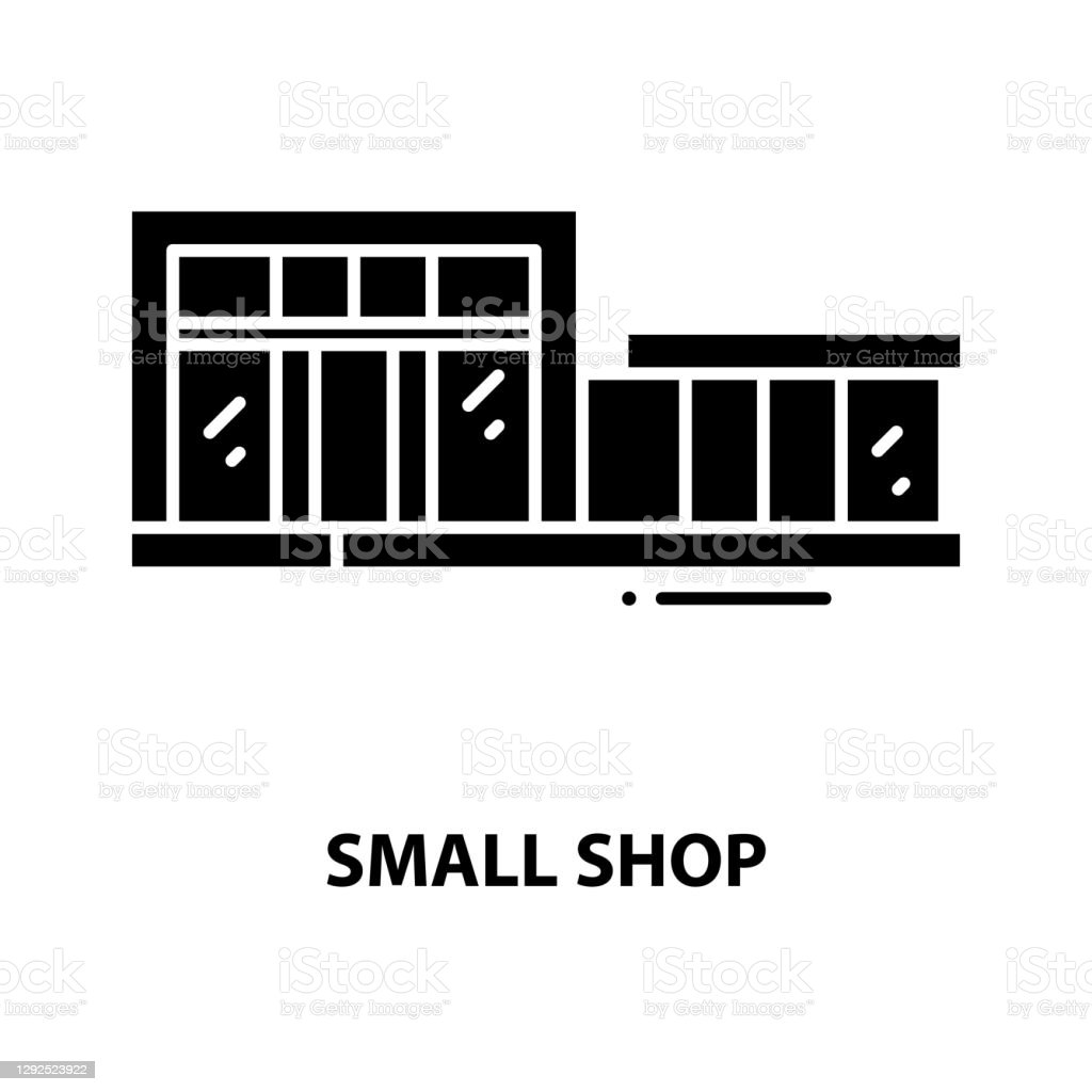 작은 상점 아이콘, 편집 가능한 스트로크가있는 검은 색 벡터 기호, 컨셉 일러스트 - 로열티 프리 0명 벡터 아트