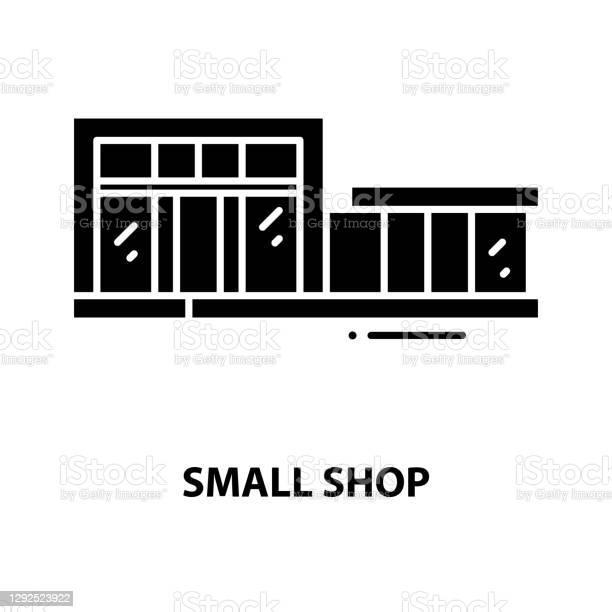 작은 상점 아이콘 편집 가능한 스트로크가있는 검은 색 벡터 기호 컨셉 일러스트 0명에 대한 스톡 벡터 아트 및 기타 이미지
