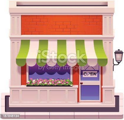 Detailed icon representing shop building with awnings