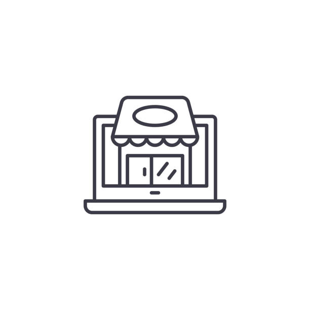 small shop linear icon concept. small shop line vector sign, symbol, illustration. - small business stock illustrations