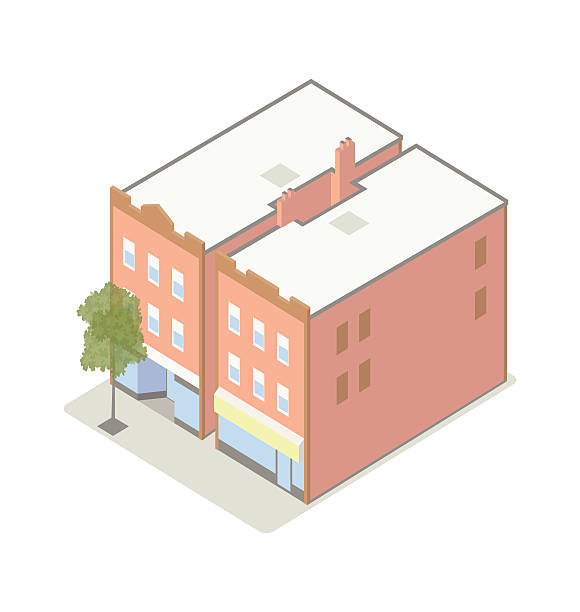 Small shops with apartments isometric illustration vector art illustration