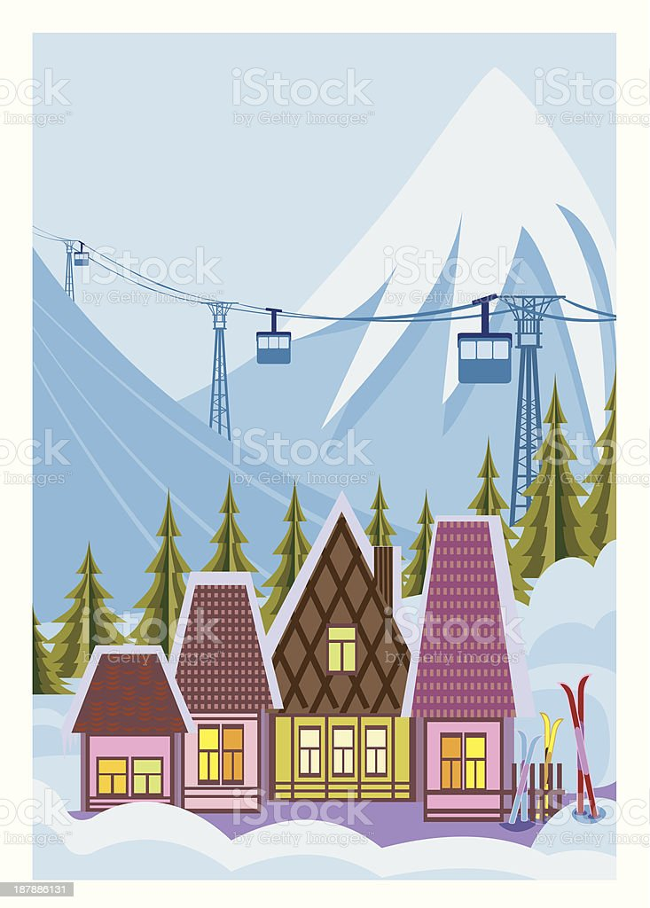 Small ski resort royalty-free stock vector art