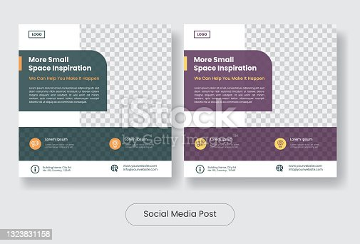 Small space inspiration social media post template banner set
