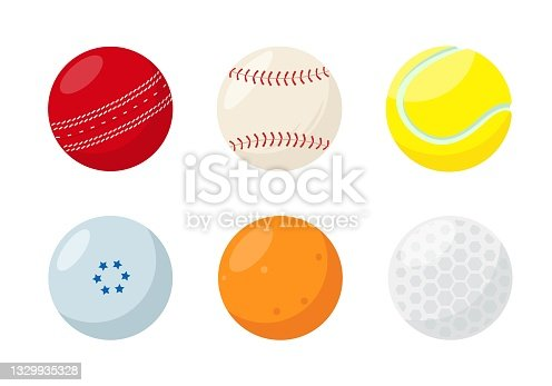 Small sport ball set isolated on white background.