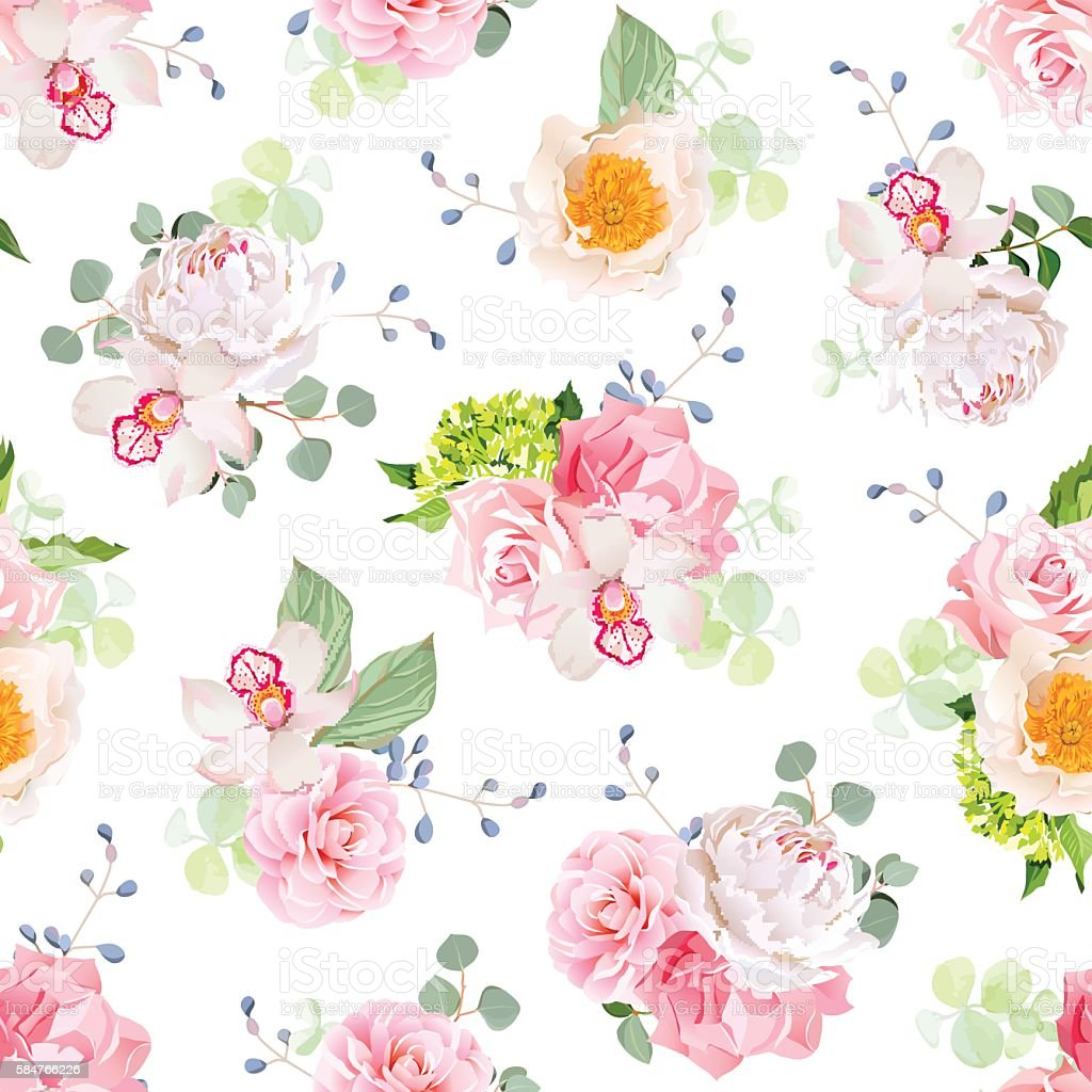 Small spring bouquets of rose, peony, camellia, orchid, carnation, hydrangea - Illustration vectorielle