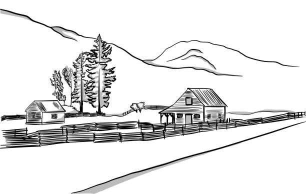 small stable - clip art of a black and white barn stock illustrations, clip art, cartoons, & icons