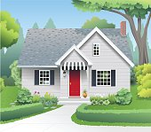 A small cottage style home sits surrounded by tall green trees, shrubs, flower gardens, hedges and a green lawn.