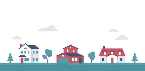 małe podmiejskie osiedlowe domy społeczności - house stock illustrations