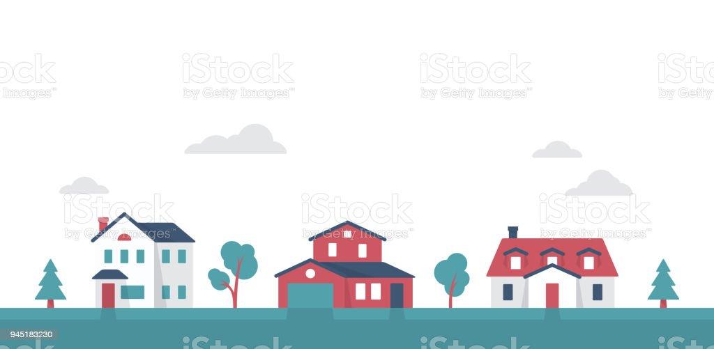 Small Suburban Neighborhood Community Houses vector art illustration