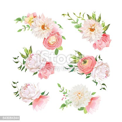 Small Summer Bouquets Of Rose Peony Ranunculus Dahlia Carnation Stock Vector Art Amp More Images