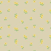 Small tiny yellow flowers with leaves scattered on the beige background. Cute ditsy liberty floral vintage seamless pattern, background, backdrop and textile design.