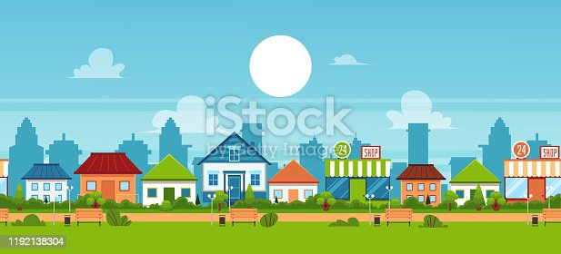 Suburban town landscape banner with small cottage houses and green summer park with benches - cute flat cartoon vector illustration of small residential district