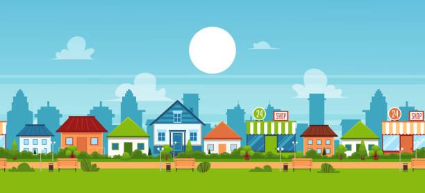 Small town and suburb with private suburban homes. Suburban town landscape banner with small cottage houses and green summer park with benches - cute flat cartoon vector illustration of small residential district village stock illustrations