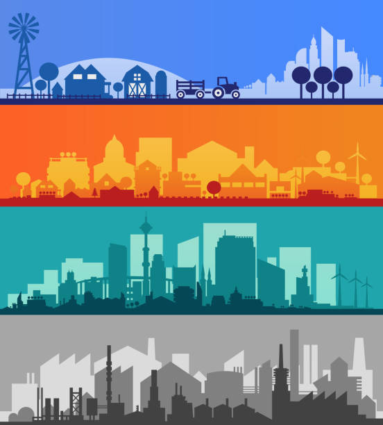 small town and village silhouettes. multicolored collection - suburbs stock illustrations