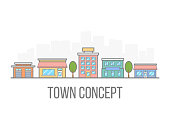 Small town concept. Linear color cityscape. Street with hotel, garage, boutique and cafe. City in flat style isolated on white background. Vector illustration.