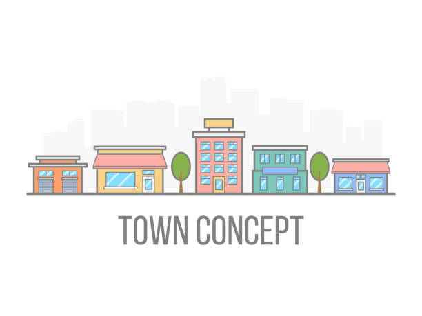 small town concept. linear color cityscape. street with hotel, garage, boutique and cafe. city in flat style isolated on white background. vector illustration - деловой центр города stock illustrations