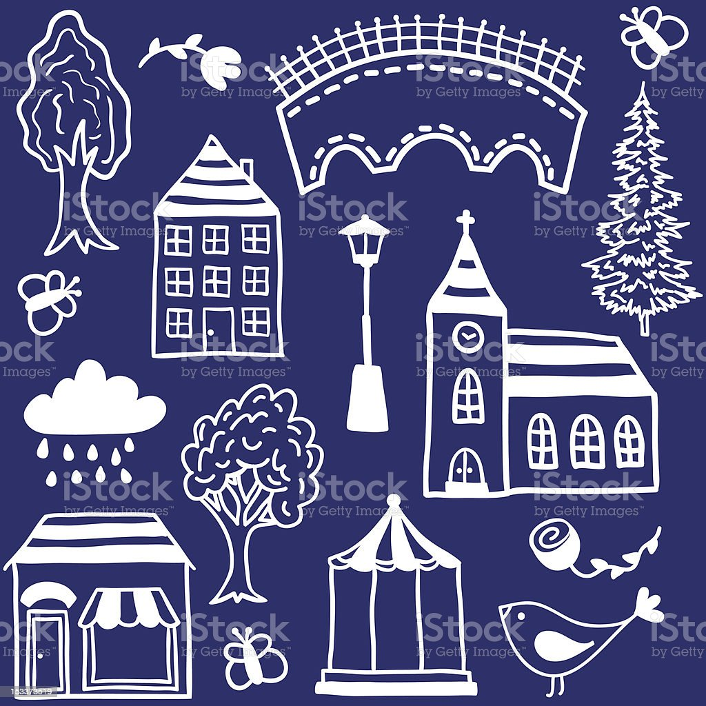 Small town design elements royalty-free stock vector art