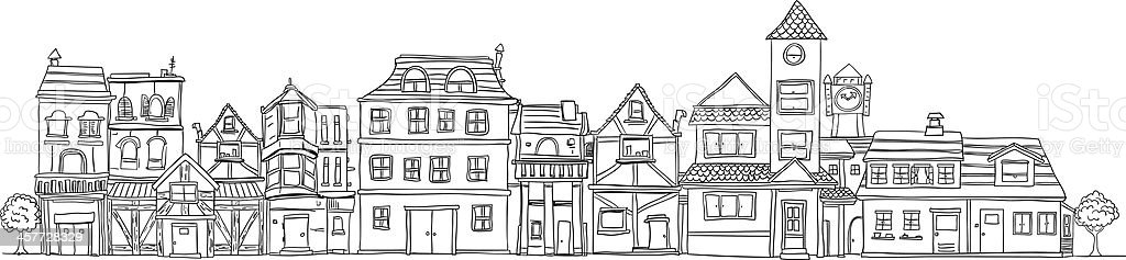 Small town illustraion in black and white royalty-free stock vector art
