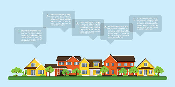 small town infographic - suburbs stock illustrations