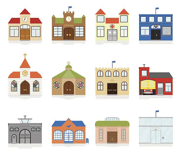 kleine stadt öffentliches gebäude-ikonen, vektor-illustration - grundschule stock-grafiken, -clipart, -cartoons und -symbole