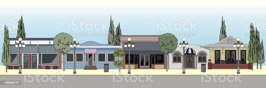 Small Town Shopping royalty-free stock vector art
