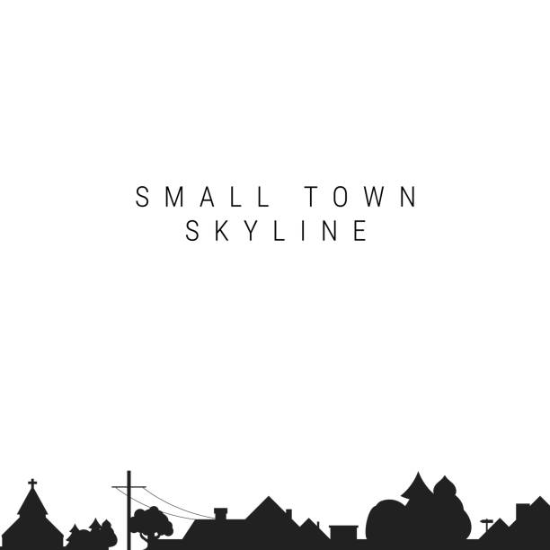 small town skyline silhouette. vector illustration - suburbs stock illustrations